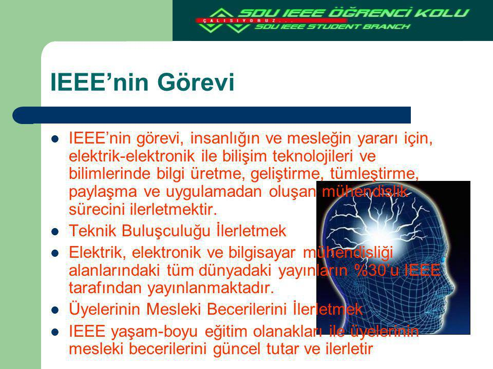 IEEE'nin Görevi IEEE'nin görevi, insanlığın ve mesleğin yararı için, elektrik-elektronik ile bilişim teknolojileri ve bilimlerinde bilgi üretme, geliş
