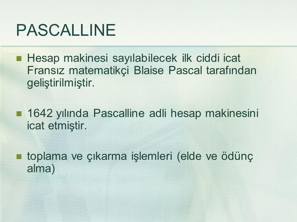 Hesap makinesi sayılabilecek ilk ciddi icat Fransız matematikçi Blaise Pascal tarafından geliştirilmiştir. 1642 yılında Pascalline adli hesap makinesi