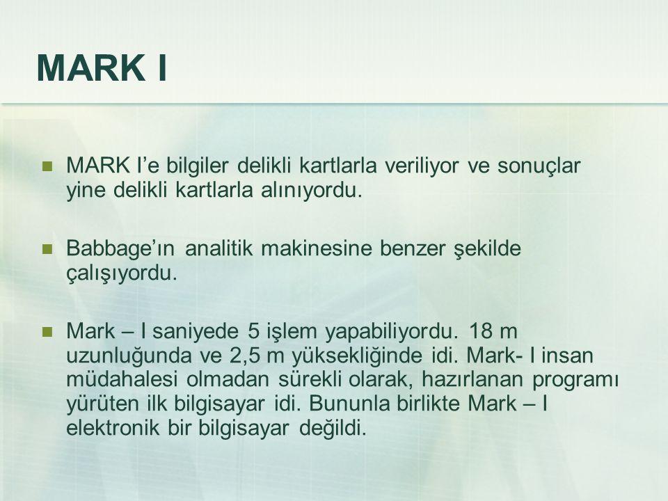 MARK I MARK I'e bilgiler delikli kartlarla veriliyor ve sonuçlar yine delikli kartlarla alınıyordu. Babbage'ın analitik makinesine benzer şekilde çalı
