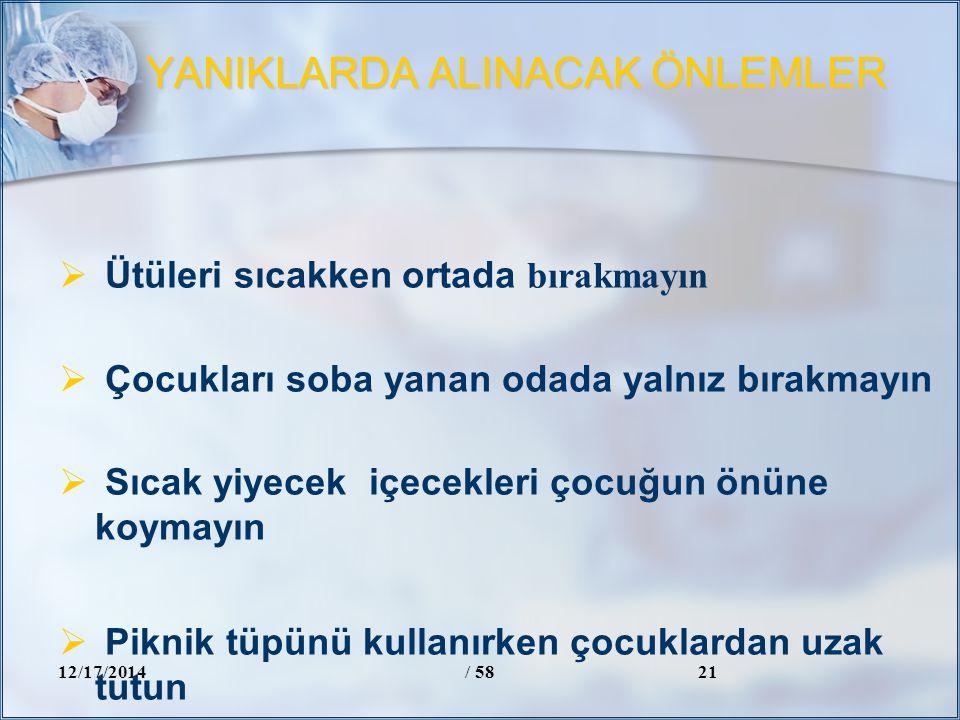 YANIKLARDA ALINACAK ÖNLEMLER 12/17/2014/ 5821  Ütüleri sıcakken ortada bırakmayın  Çocukları soba yanan odada yalnız bırakmayın  Sıcak yiyecek içec