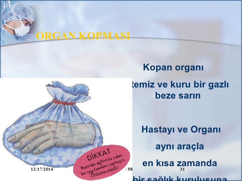 Kopan organı temiz ve kuru bir gazlı beze sarın Hastayı ve Organı aynı araçla en kısa zamanda bir sağlık kuruluşuna götürün ORGAN KOPMASI 12/17/2014/