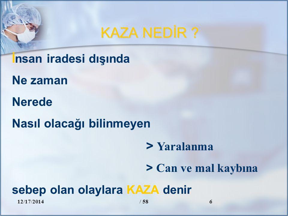 KAZA NEDİR ? 12/17/2014/ 586 İnsan iradesi dışında Ne zaman Nerede Nasıl olacağı bilinmeyen > Yaralanma > Can ve mal kaybına sebep olan olaylara KAZA