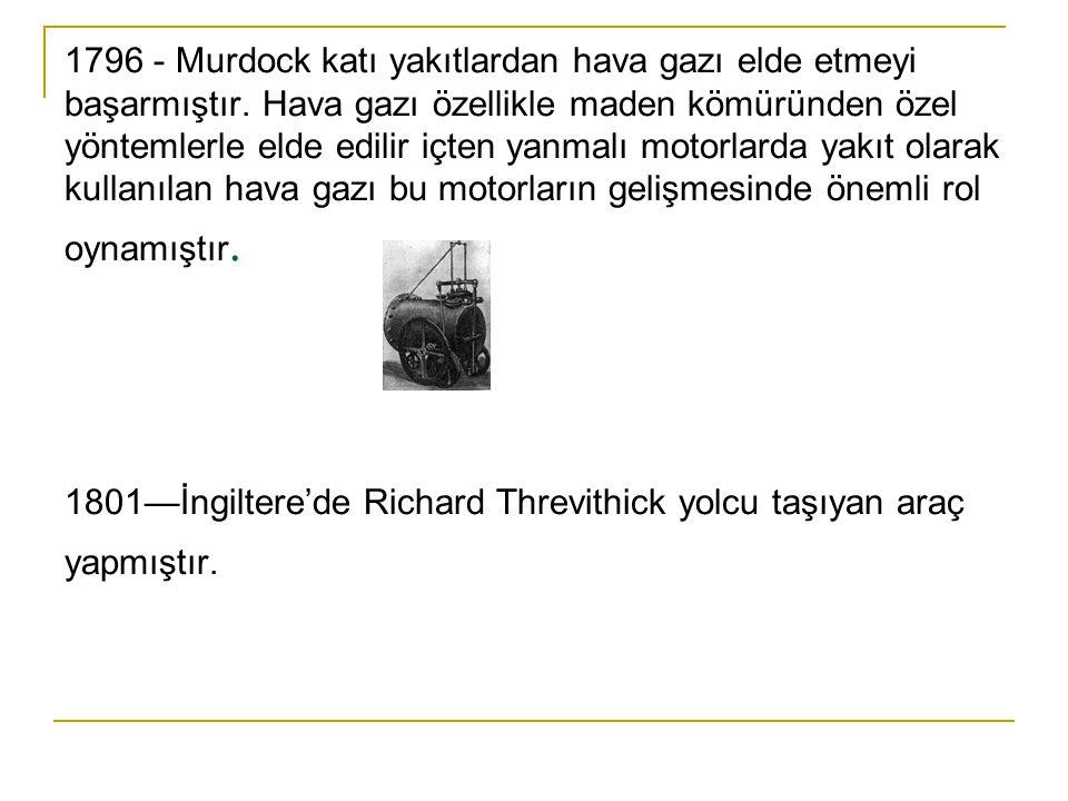 1796 - Murdock katı yakıtlardan hava gazı elde etmeyi başarmıştır.