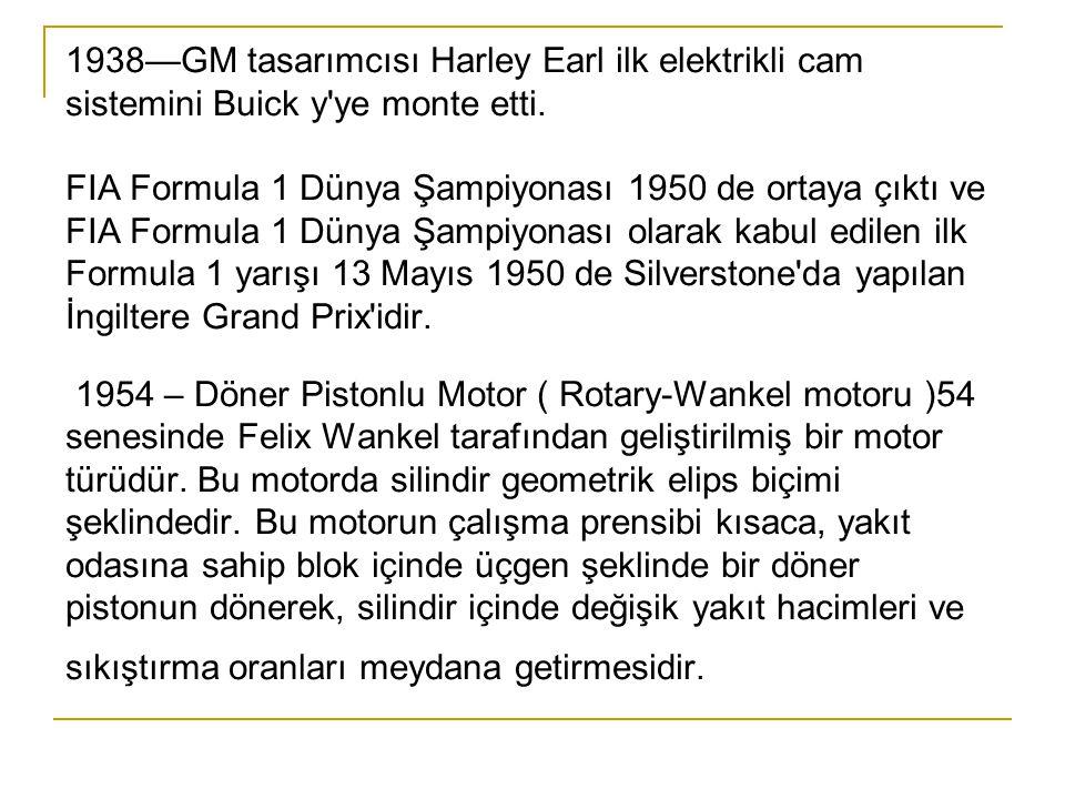 1938—GM tasarımcısı Harley Earl ilk elektrikli cam sistemini Buick y ye monte etti.