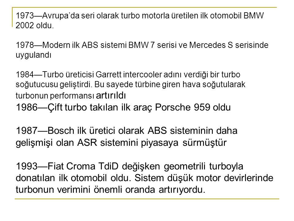 1973—Avrupa'da seri olarak turbo motorla üretilen ilk otomobil BMW 2002 oldu.