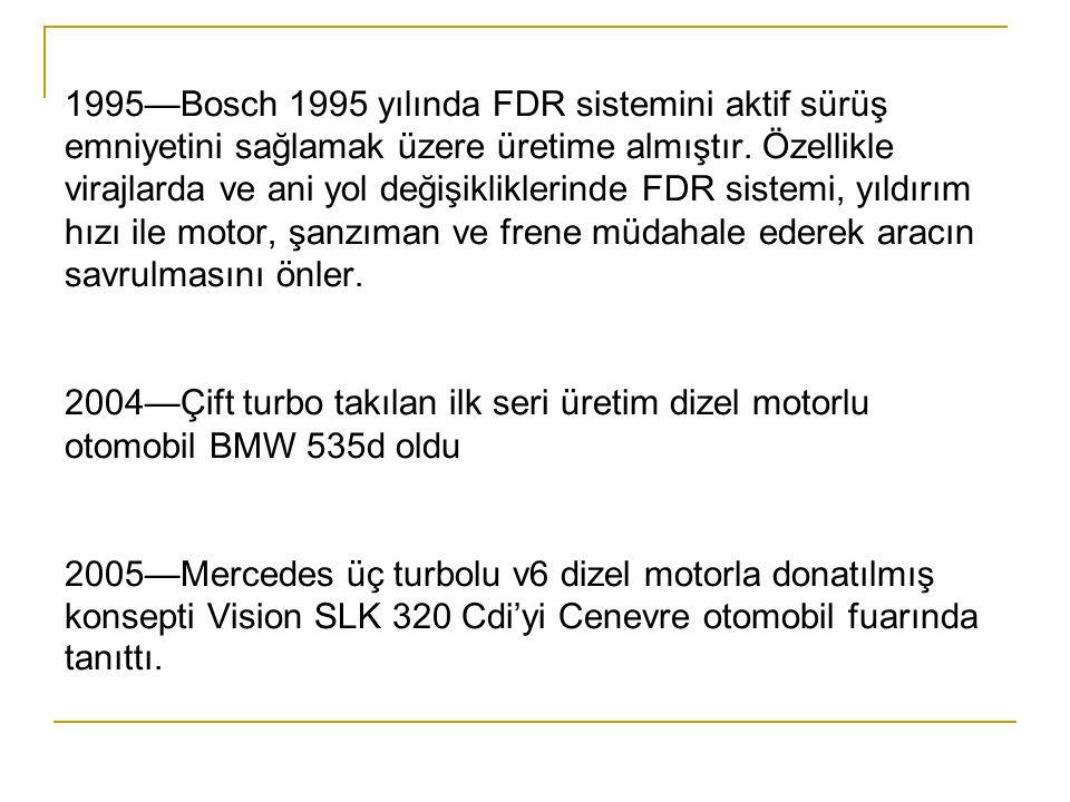 1995—Bosch 1995 yılında FDR sistemini aktif sürüş emniyetini sağlamak üzere üretime almıştır.