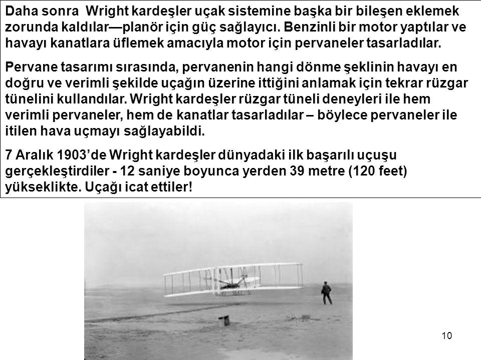 10 Daha sonra Wright kardeşler uçak sistemine başka bir bileşen eklemek zorunda kaldılar—planör için güç sağlayıcı.