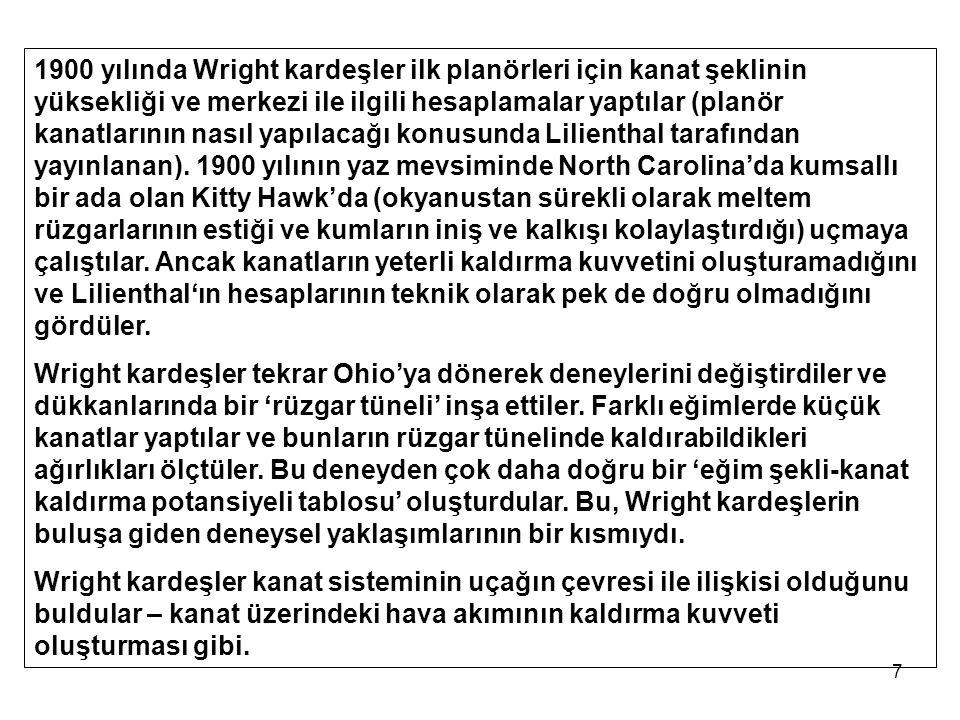 7 1900 yılında Wright kardeşler ilk planörleri için kanat şeklinin yüksekliği ve merkezi ile ilgili hesaplamalar yaptılar (planör kanatlarının nasıl yapılacağı konusunda Lilienthal tarafından yayınlanan).