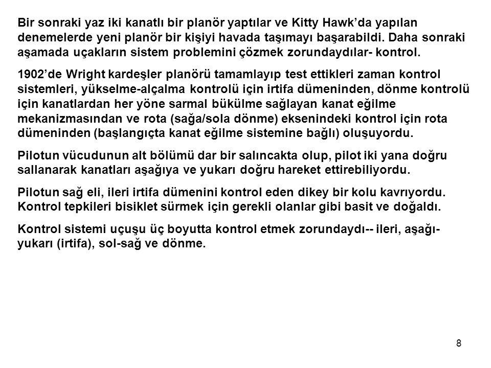 8 Bir sonraki yaz iki kanatlı bir planör yaptılar ve Kitty Hawk'da yapılan denemelerde yeni planör bir kişiyi havada taşımayı başarabildi.