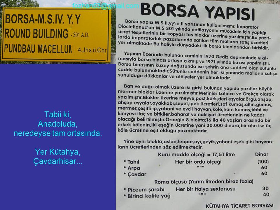 Tabii ki, Anadoluda, neredeyse tam ortasında. Yer Kütahya, Çavdarhisar... fozhan53@gmail.com