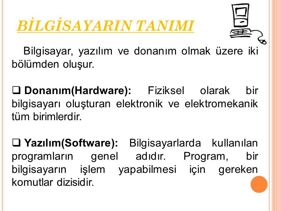 Bilgisayar, yazılım ve donanım olmak üzere iki bölümden oluşur.  Donanım(Hardware): Fiziksel olarak bir bilgisayarı oluşturan elektronik ve elektrome