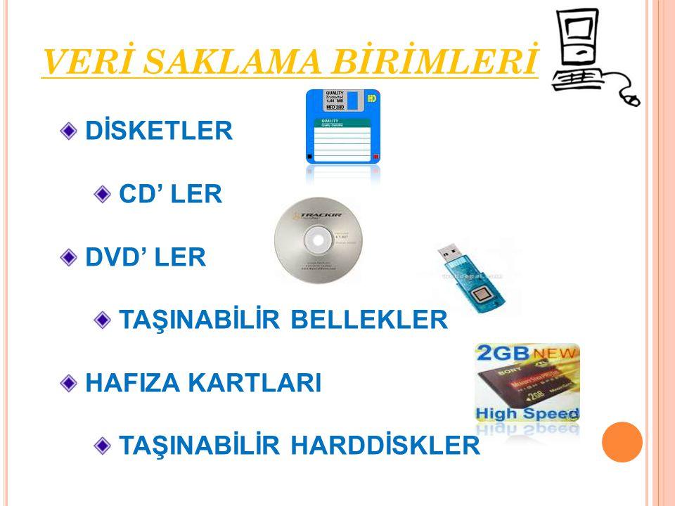 DİSKETLER CD' LER DVD' LER TAŞINABİLİR BELLEKLER HAFIZA KARTLARI TAŞINABİLİR HARDDİSKLER VERİ SAKLAMA BİRİMLERİ