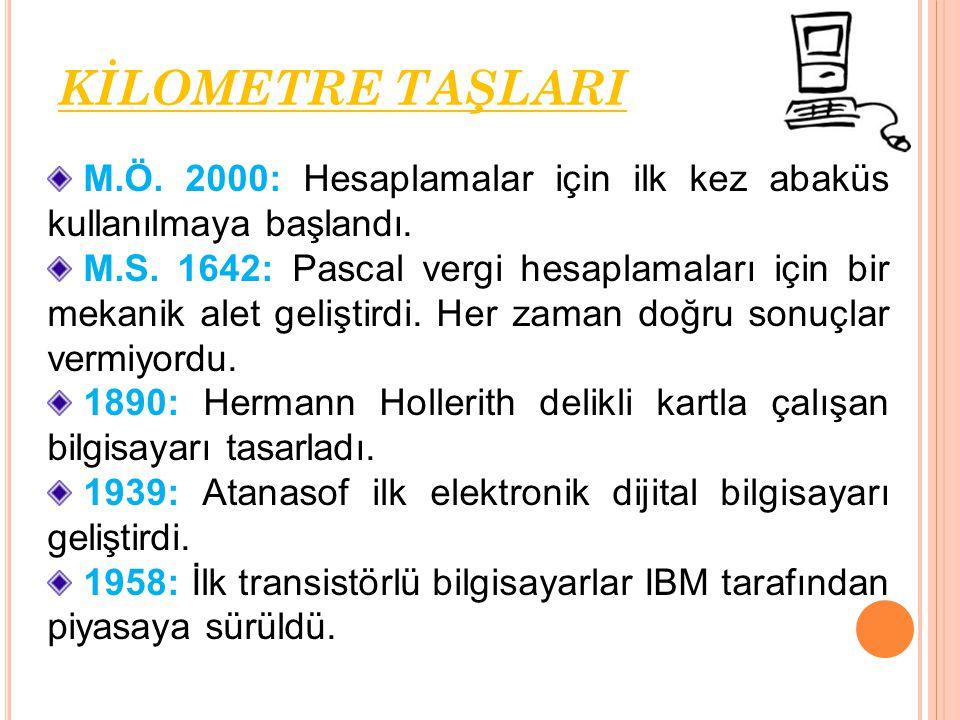 M.Ö. 2000: Hesaplamalar için ilk kez abaküs kullanılmaya başlandı. M.S. 1642: Pascal vergi hesaplamaları için bir mekanik alet geliştirdi. Her zaman d