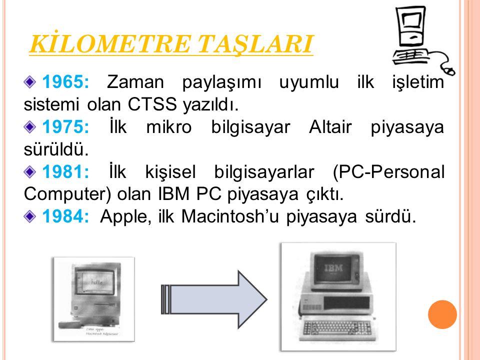 1965: Zaman paylaşımı uyumlu ilk işletim sistemi olan CTSS yazıldı. 1975: İlk mikro bilgisayar Altair piyasaya sürüldü. 1981: İlk kişisel bilgisayarla