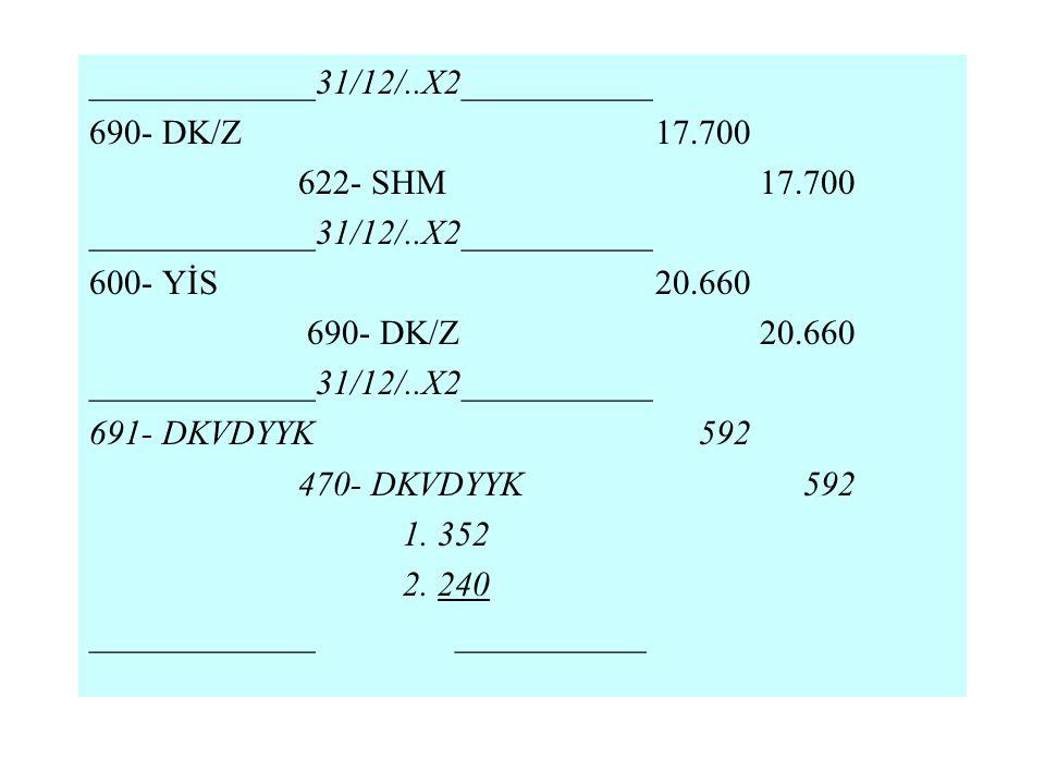_____________31/12/..X2___________ 690- DK/Z 17.700 622- SHM 17.700 _____________31/12/..X2___________ 600- YİS 20.660 690- DK/Z 20.660 _____________3