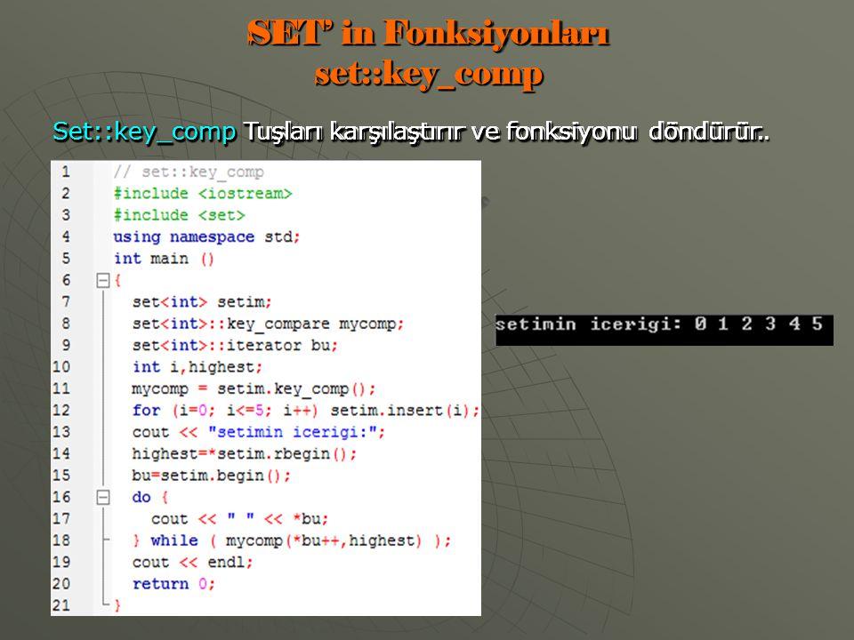 SET' in Fonksiyonları set::key_comp Set::key_comp Tuşları karşılaştırır ve fonksiyonu döndürür.