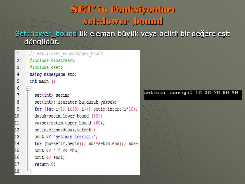 SET' in Fonksiyonları set::lower_bound Set::lower_bound İlk eleman büyük veya belirli bir değere eşit döngüdür.