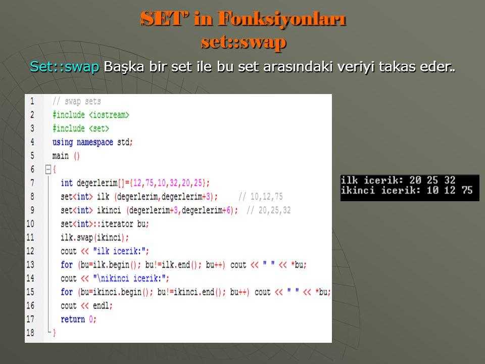 SET' in Fonksiyonları set::swap Set::swap Başka bir set ile bu set arasındaki veriyi takas eder.