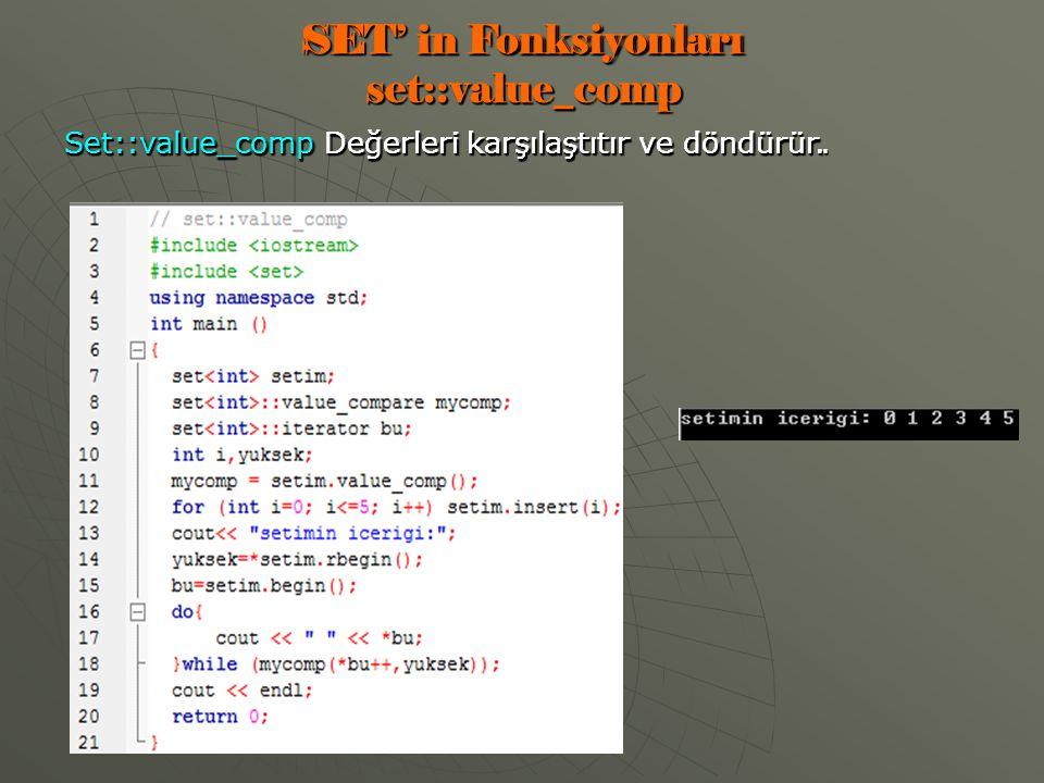 SET' in Fonksiyonları set::value_comp Set::value_comp Değerleri karşılaştıtır ve döndürür.