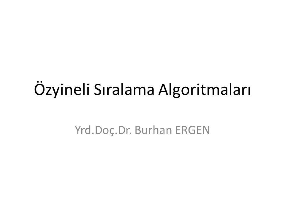 Özyineli Sıralama Algoritmaları Yrd.Doç.Dr. Burhan ERGEN