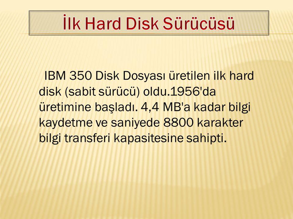 IBM 350 Disk Dosyası üretilen ilk hard disk (sabit sürücü) oldu.1956'da üretimine başladı. 4,4 MB'a kadar bilgi kaydetme ve saniyede 8800 karakter bil