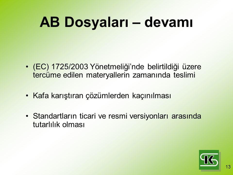 13 AB Dosyaları – devamı (EC) 1725/2003 Yönetmeliği'nde belirtildiği üzere tercüme edilen materyallerin zamanında teslimi Kafa karıştıran çözümlerden kaçınılması Standartların ticari ve resmi versiyonları arasında tutarlılık olması