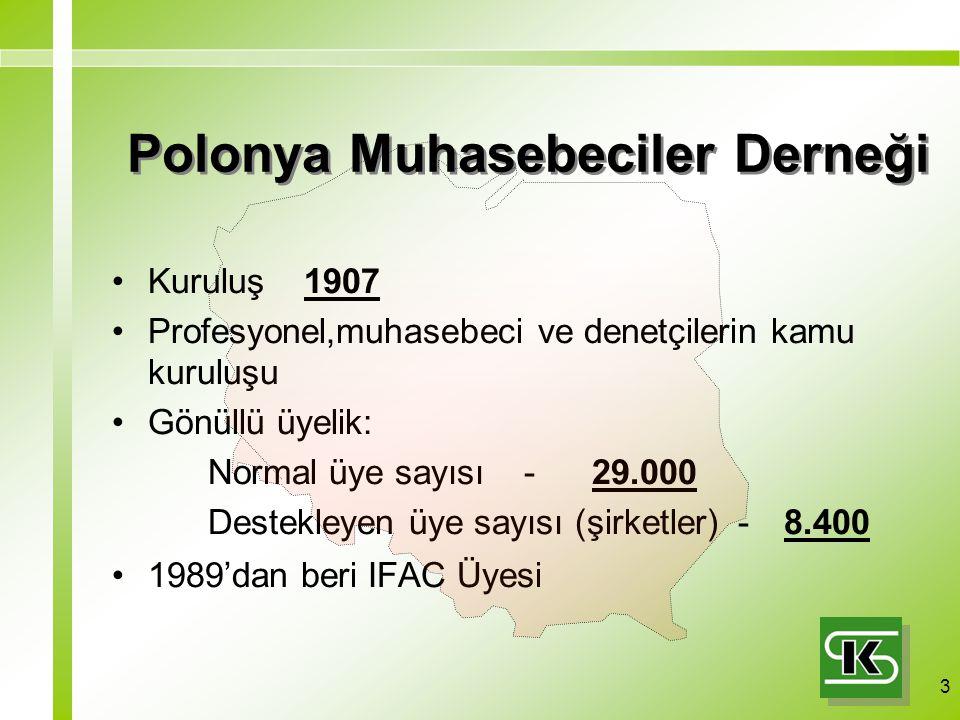 3 Polonya Muhasebeciler Derneği Kuruluş 1907 Profesyonel,muhasebeci ve denetçilerin kamu kuruluşu Gönüllü üyelik: Normal üye sayısı -29.000 Destekleyen üye sayısı (şirketler) - 8.400 1989'dan beri IFAC Üyesi