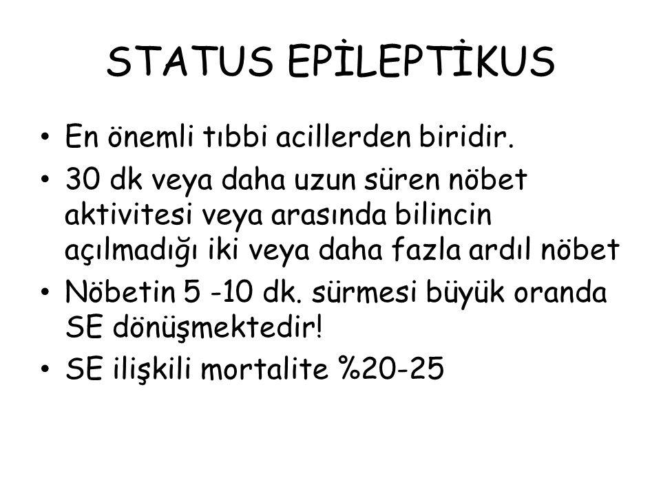 STATUS EPİLEPTİKUS En önemli tıbbi acillerden biridir.
