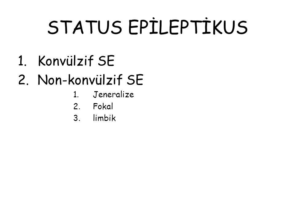 STATUS EPİLEPTİKUS 1.Konvülzif SE 2.Non-konvülzif SE 1.Jeneralize 2.Fokal 3.limbik