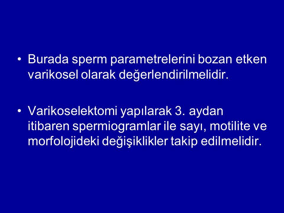 Burada sperm parametrelerini bozan etken varikosel olarak değerlendirilmelidir. Varikoselektomi yapılarak 3. aydan itibaren spermiogramlar ile sayı, m