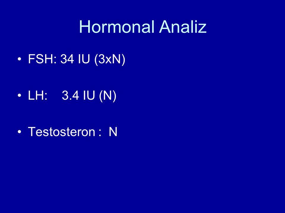 Hormonal Analiz FSH: 34 IU (3xN) LH: 3.4 IU (N) Testosteron : N