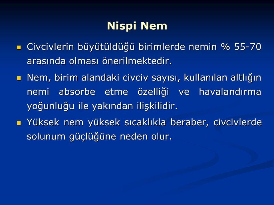 Nispi Nem Civcivlerin büyütüldüğü birimlerde nemin % 55-70 arasında olması önerilmektedir.