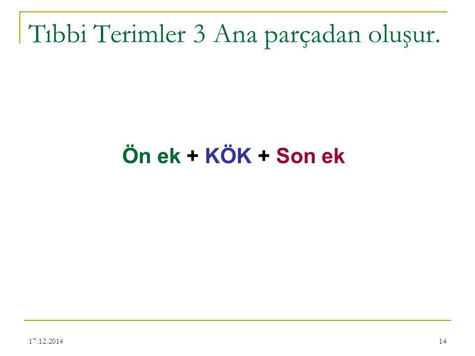 17.12.201414 Tıbbi Terimler 3 Ana parçadan oluşur. Ön ek + KÖK + Son ek