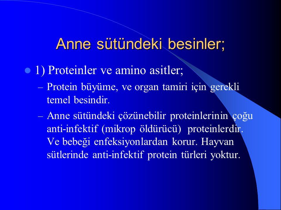 Anne sütündeki besinler; 1) Proteinler ve amino asitler; – Protein büyüme, ve organ tamiri için gerekli temel besindir.