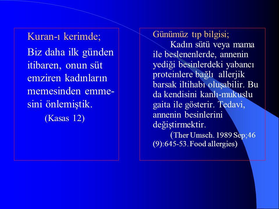 Kuran-ı kerimde; Biz daha ilk günden itibaren, onun süt emziren kadınların memesinden emme- sini önlemiştik.
