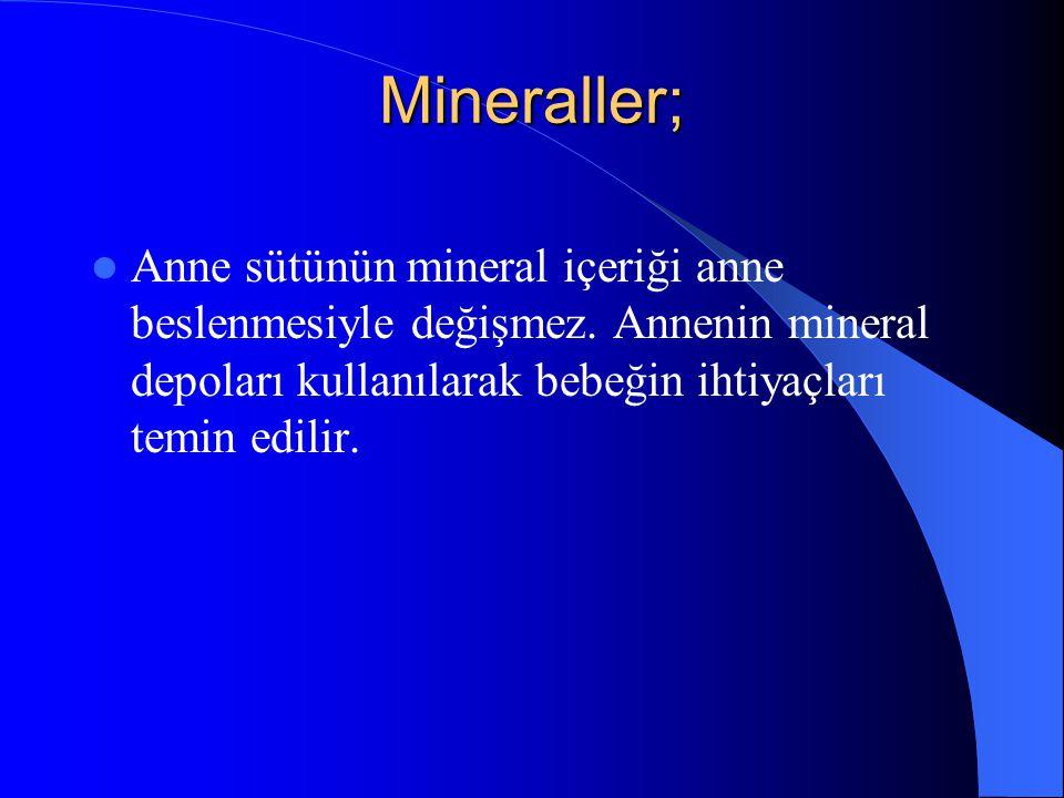 Mineraller; Anne sütünün mineral içeriği anne beslenmesiyle değişmez.