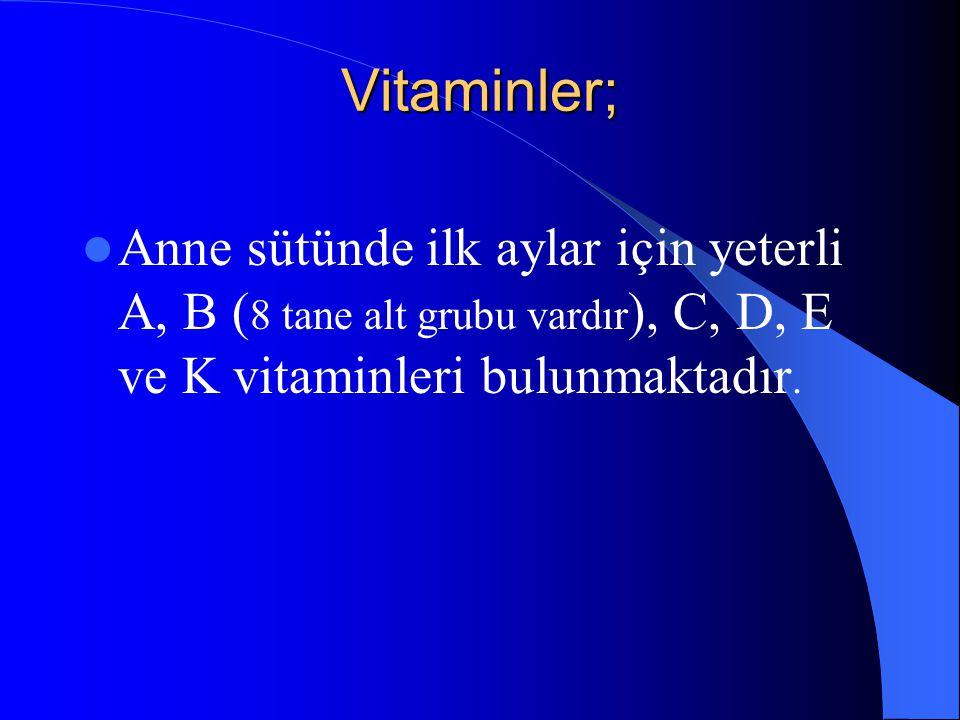 Vitaminler; Anne sütünde ilk aylar için yeterli A, B ( 8 tane alt grubu vardır ), C, D, E ve K vitaminleri bulunmaktadır.