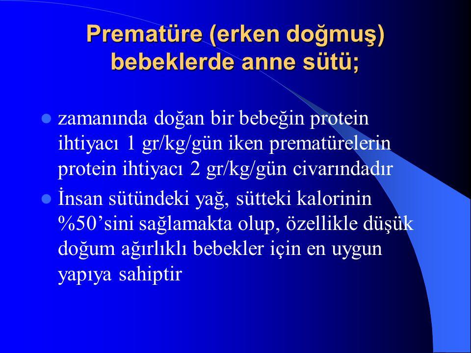 Prematüre (erken doğmuş) bebeklerde anne sütü; zamanında doğan bir bebeğin protein ihtiyacı 1 gr/kg/gün iken prematürelerin protein ihtiyacı 2 gr/kg/gün civarındadır İnsan sütündeki yağ, sütteki kalorinin %50'sini sağlamakta olup, özellikle düşük doğum ağırlıklı bebekler için en uygun yapıya sahiptir