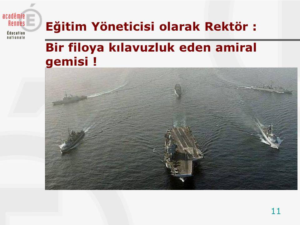 11 Eğitim Yöneticisi olarak Rektör : Bir filoya kılavuzluk eden amiral gemisi !