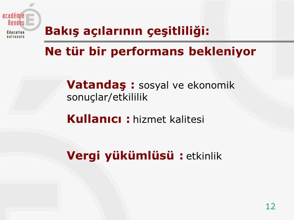 12 Vatandaş : sosyal ve ekonomik sonuçlar/etkililik Bakış açılarının çeşitliliği: Ne tür bir performans bekleniyor Kullanıcı : hizmet kalitesi Vergi yükümlüsü : etkinlik