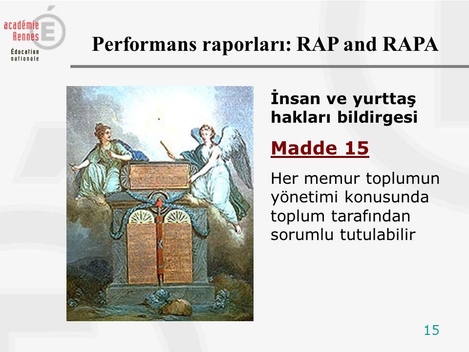 15 İnsan ve yurttaş hakları bildirgesi Madde 15 Her memur toplumun yönetimi konusunda toplum tarafından sorumlu tutulabilir Performans raporları: RAP and RAPA
