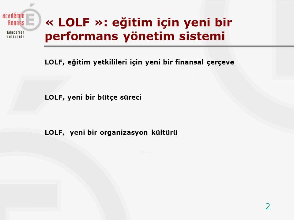 2 LOLF, eğitim yetkilileri için yeni bir finansal çerçeve LOLF, yeni bir bütçe süreci LOLF, yeni bir organizasyon kültürü « LOLF »: eğitim için yeni bir performans yönetim sistemi