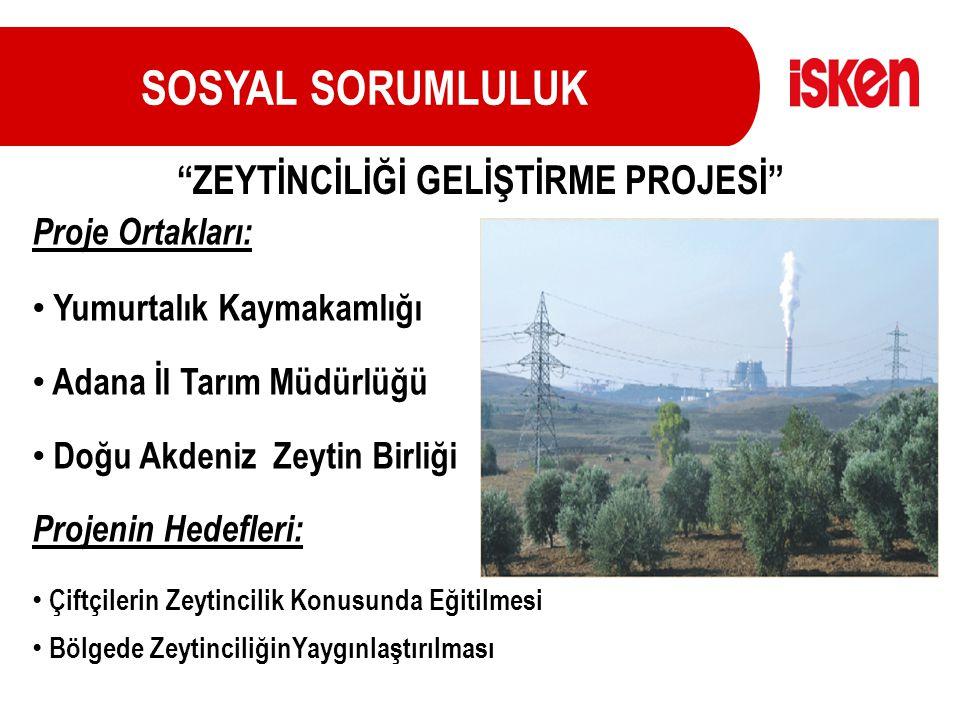 SOSYAL SORUMLULUK Proje Ortakları: Yumurtalık Kaymakamlığı Adana İl Tarım Müdürlüğü Doğu Akdeniz Zeytin Birliği Projenin Hedefleri: Çiftçilerin Zeytin