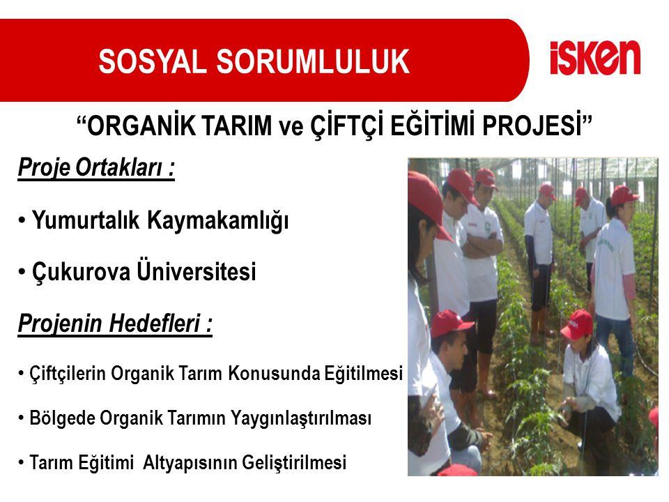 SOSYAL SORUMLULUK Proje Ortakları : Yumurtalık Kaymakamlığı Çukurova Üniversitesi Projenin Hedefleri : Çiftçilerin Organik Tarım Konusunda Eğitilmesi