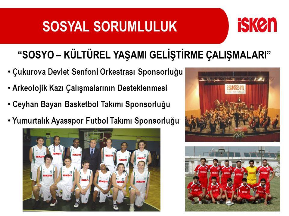SOSYAL SORUMLULUK Çukurova Devlet Senfoni Orkestrası Sponsorluğu Arkeolojik Kazı Çalışmalarının Desteklenmesi Ceyhan Bayan Basketbol Takımı Sponsorluğ