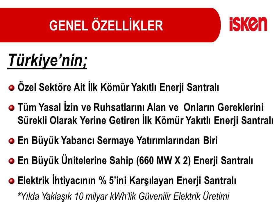 GENEL ÖZELLİKLER Türkiye'nin; Özel Sektöre Ait İlk Kömür Yakıtlı Enerji Santralı Tüm Yasal İzin ve Ruhsatlarını Alan ve Onların Gereklerini Sürekli Ol
