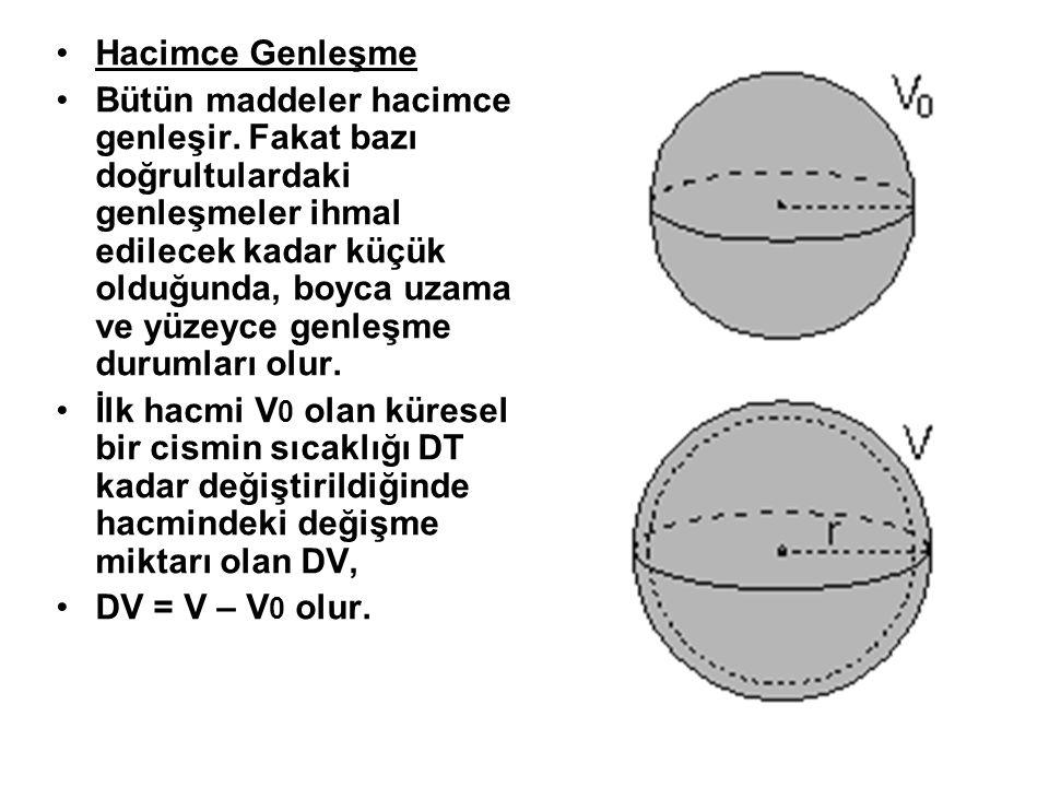 Bir maddenin genleşme miktarı, maddenin ilk boyutuna, cinsine ve sıcaklık değişimine bağlıdır.