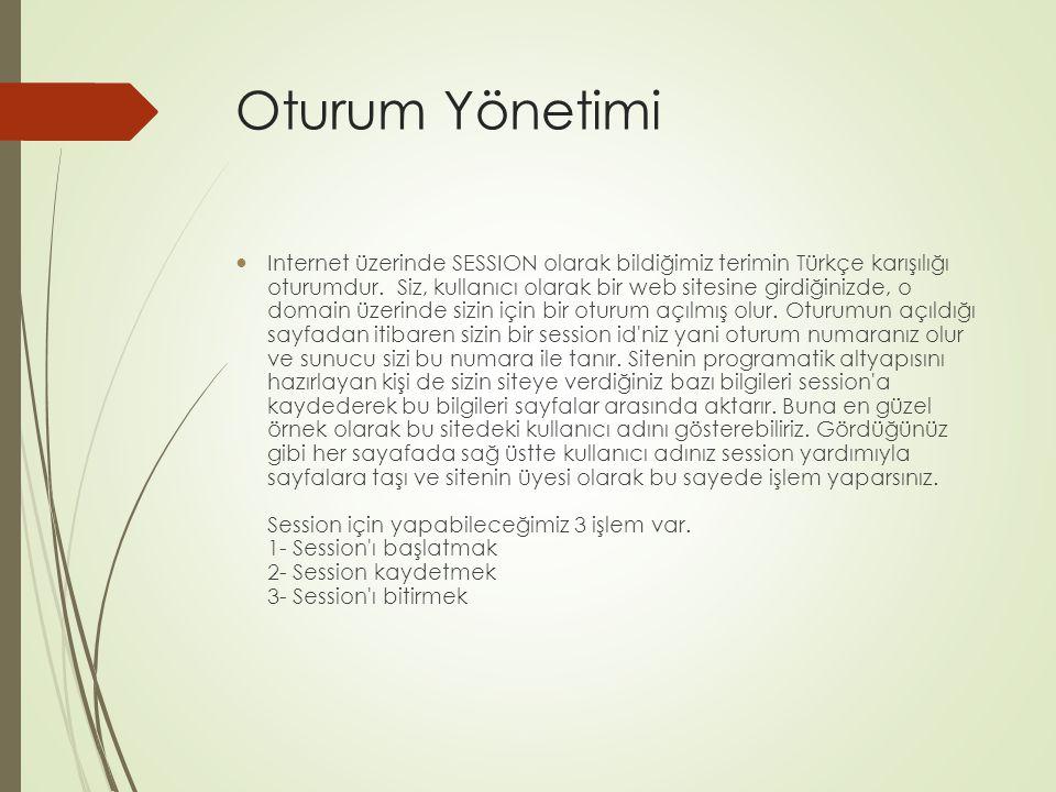 Oturum Yönetimi Internet üzerinde SESSION olarak bildiğimiz terimin Türkçe karışılığı oturumdur.