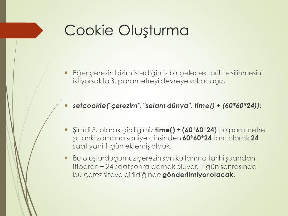 Cookie Oluşturma Eğer çerezin bizim istediğimiz bir gelecek tarihte silinmesini istiyorsakta 3.