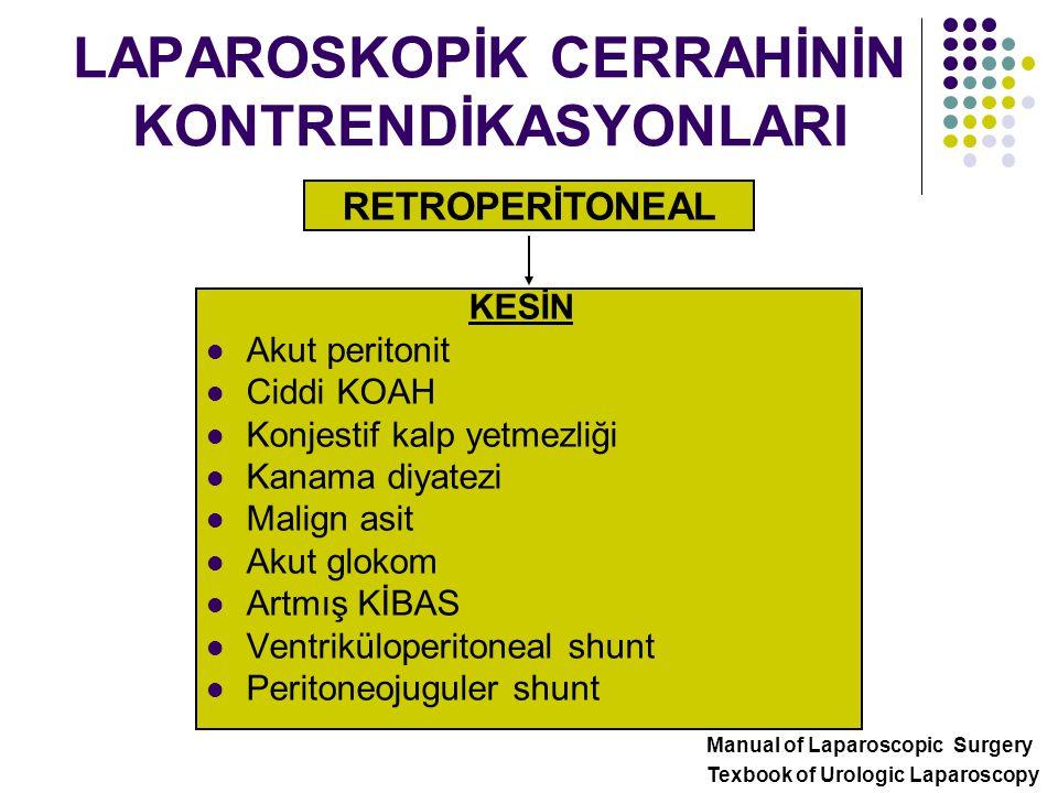 LAPAROSKOPİK CERRAHİNİN KONTRENDİKASYONLARI RETROPERİTONEAL KESİN Akut peritonit Ciddi KOAH Konjestif kalp yetmezliği Kanama diyatezi Malign asit Akut